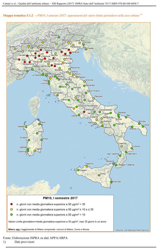 Mappa Pm10 elaborazione Ispra)