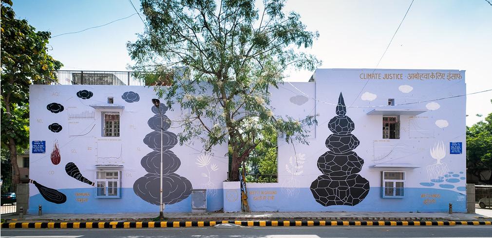 Il murales realizzato da Andreco a Nuova Delhi