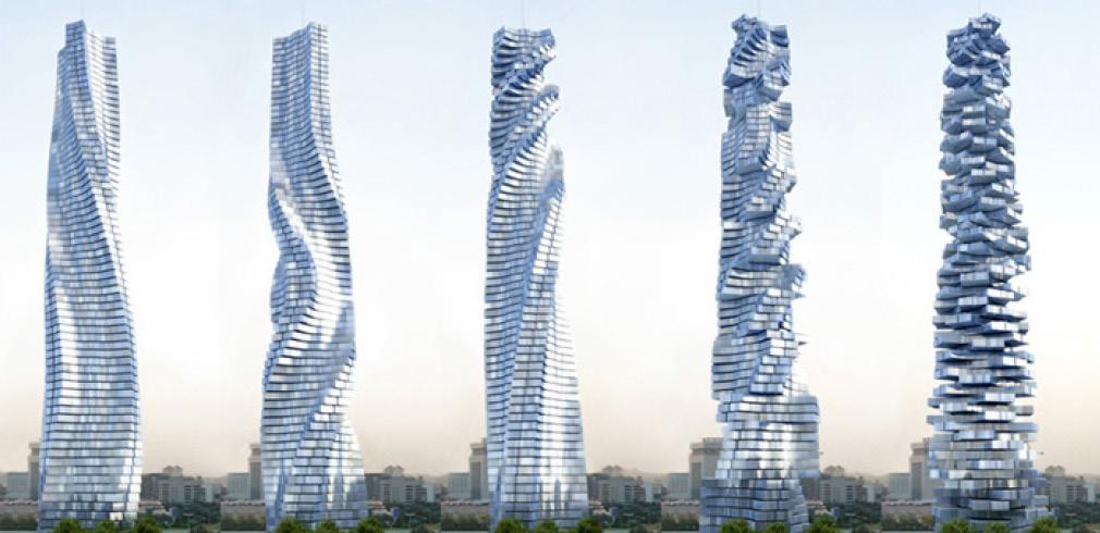 Le fasi della rotazione della Dynamic Tower di David Fisher