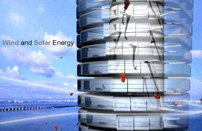 Le pale eoliche che, insieme ai pannelli solari, alimentano la Dynamic Tower