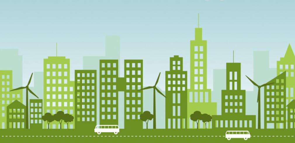 """Lo skyline di una città """"verde"""" improntata alla sostenibilità"""
