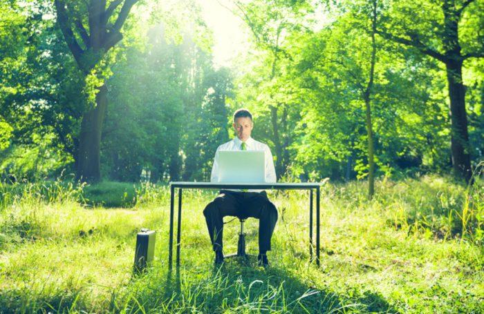 Un impiegato lavora seduto ad una scrivania immersa nella natura